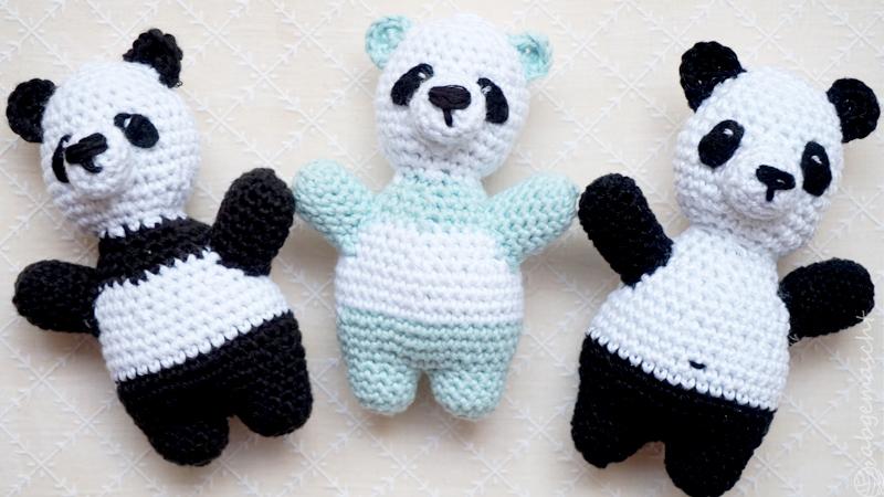 Weltmeister mit den Häkelhelden - drei Pandas