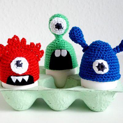 Greta, Hugo und Bob – monströse Eierwärmer | Häkelanleitung